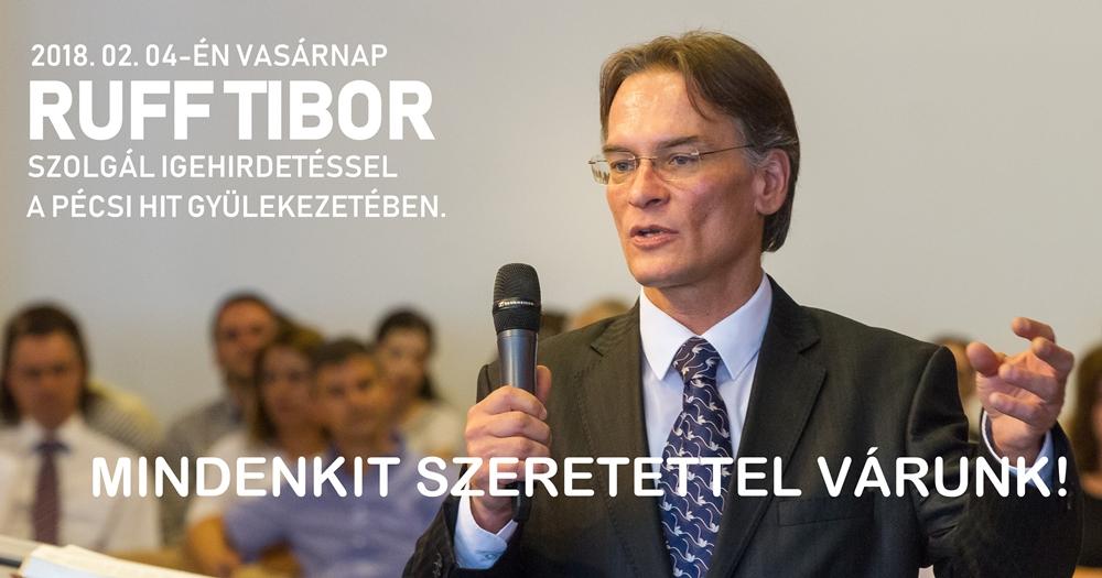 Ruff Tibor szolgál a pécsi Hit Gyülekezetében